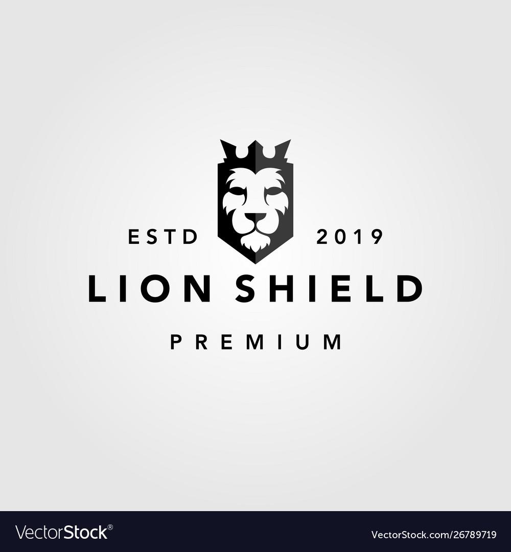 Lion shield crown vintage retro logo template icon