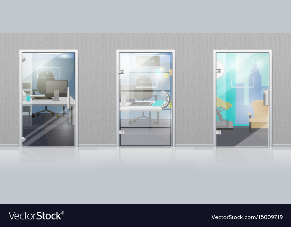 Office Interior Through Glass Door Flat Royalty Free Vector