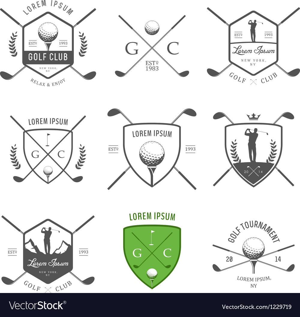 Set of vintage golf labels and badges