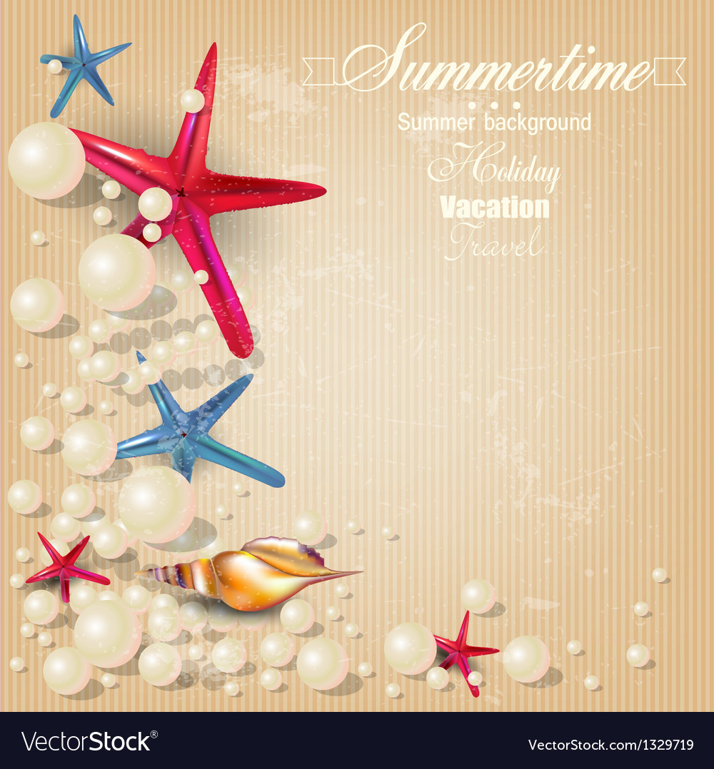 Vintage holiday banner with pearls and starfishes