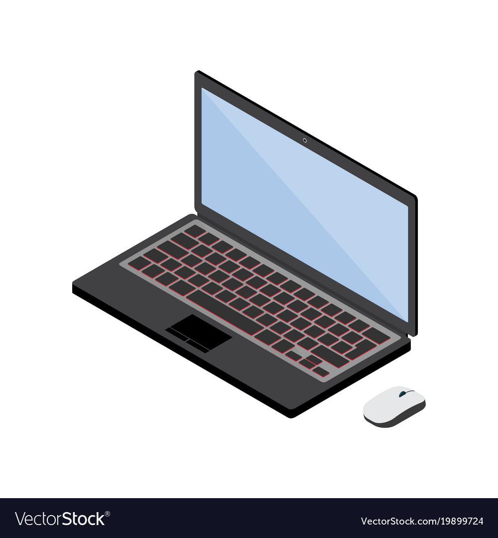 3d isometric digital art of laptop