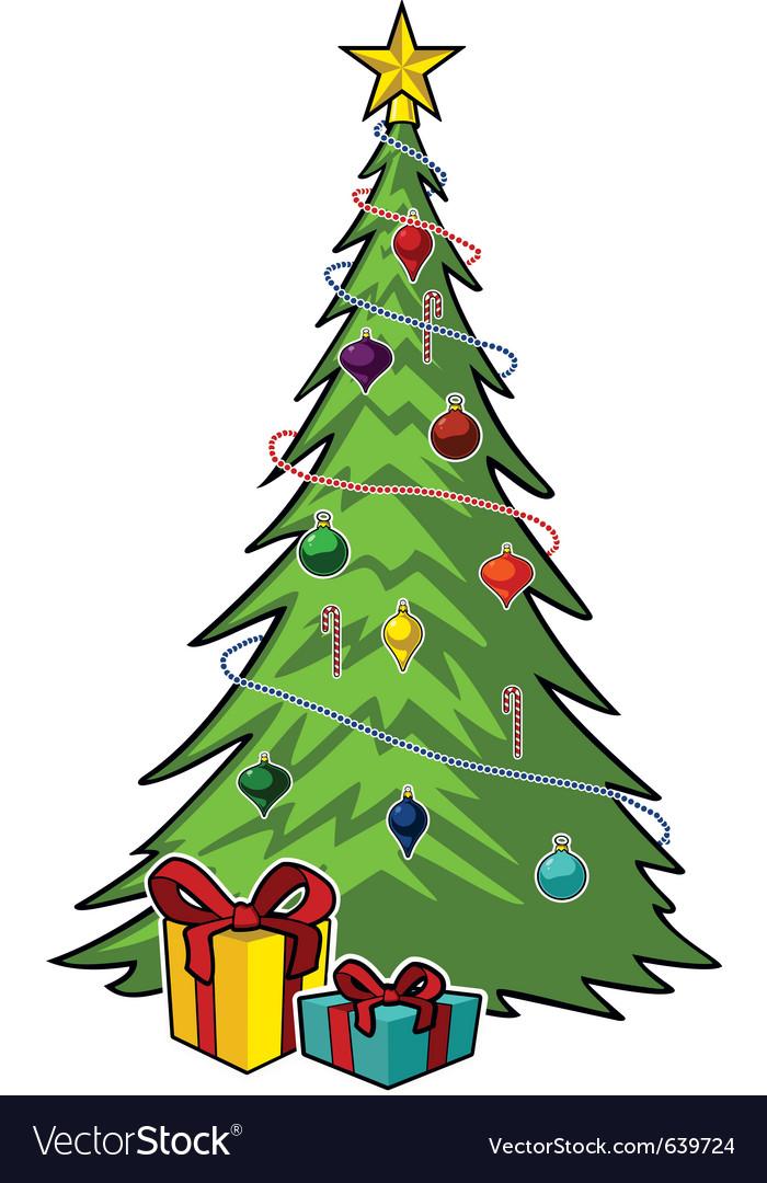 cartoon christmas tree royalty free vector image