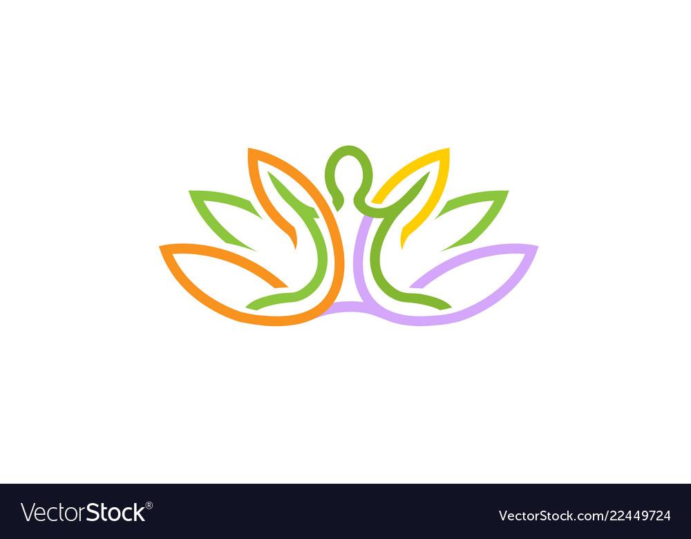 Creative lotus body plant logo