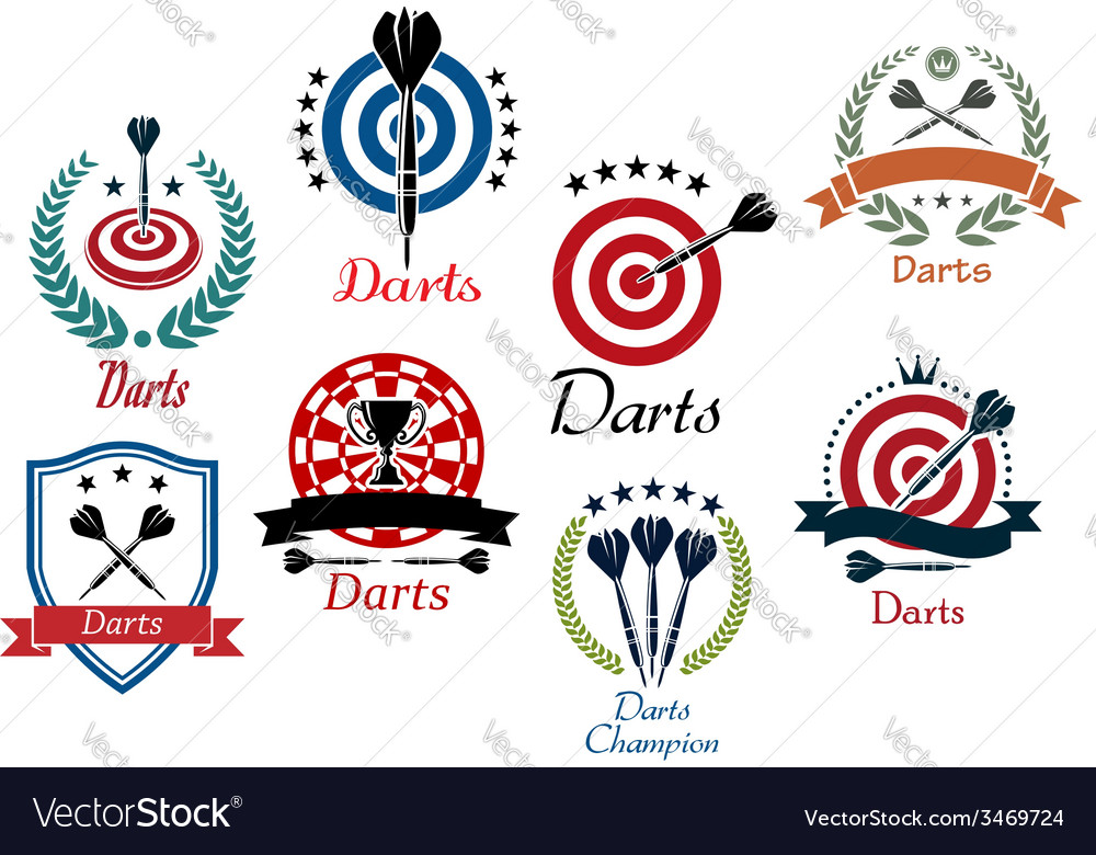 Darts sporting emblems symbols and icons
