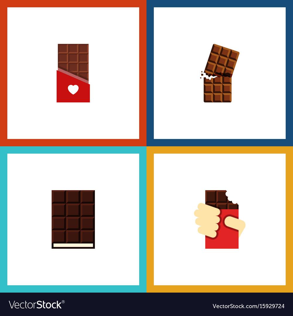 Flat icon chocolate set of dessert shaped box vector image