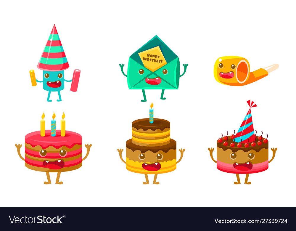 Funny birthday party symbols cartoon characters