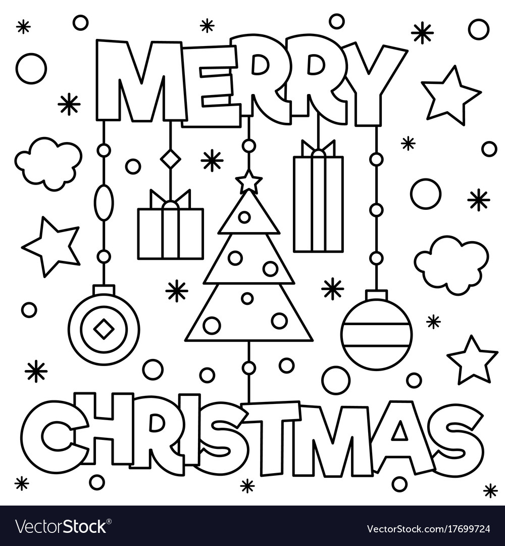 - Merry Christmas Coloring Page Royalty Free Vector Image