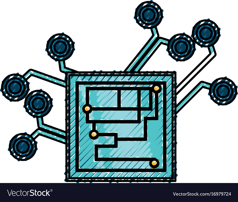 Microchip integrated circuit Royalty Free Vector Image