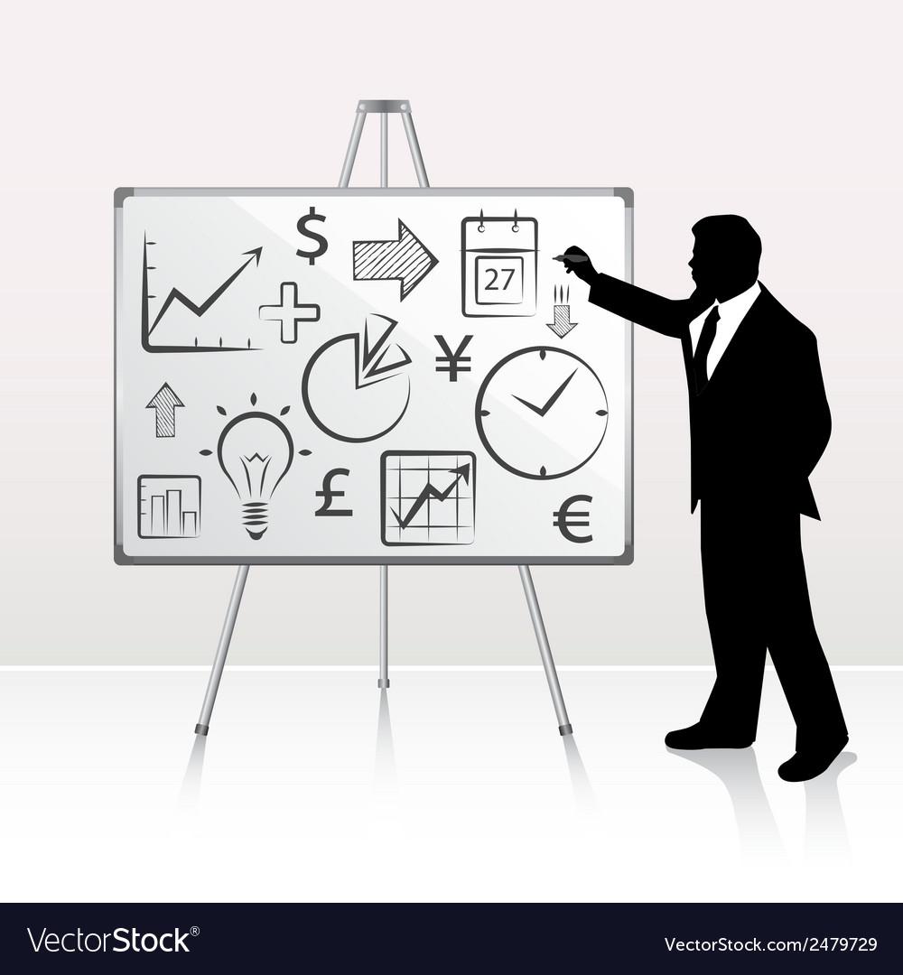 Businessman presenting on whiteboard