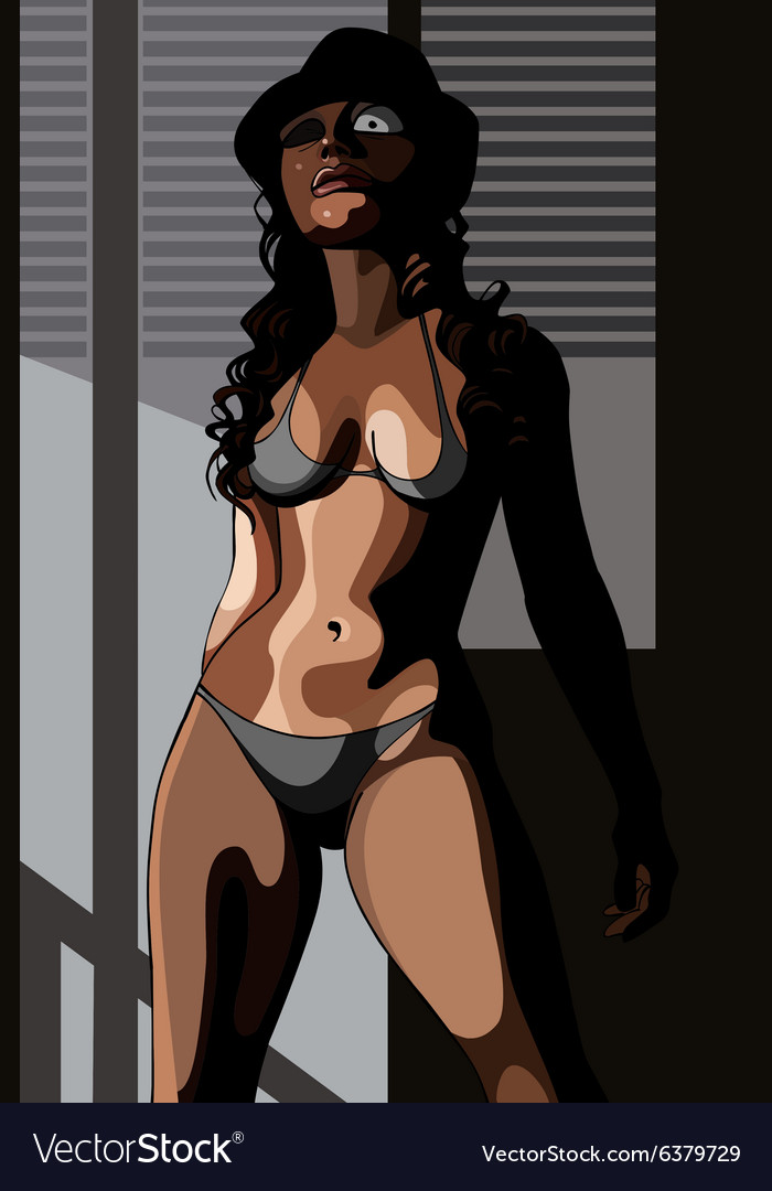 Cartoon sexy woman in lingerie and hat vector image