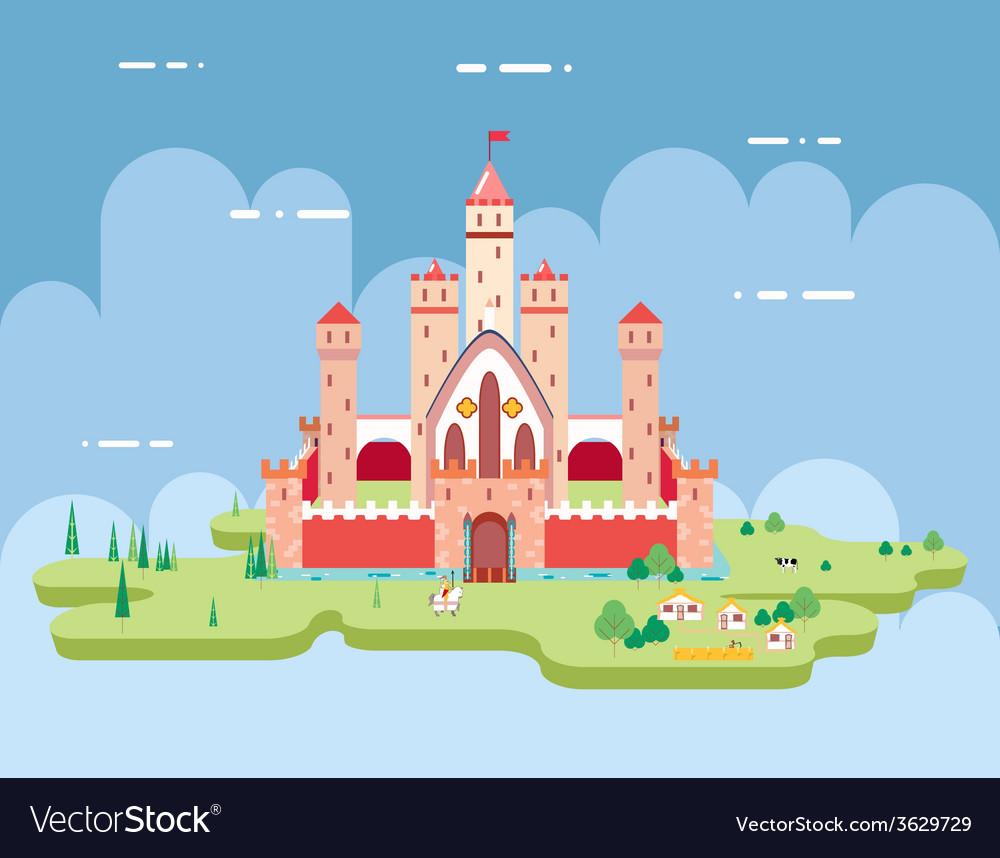 Flat Design Castle Cartoon Magic Fairytale Icon vector image
