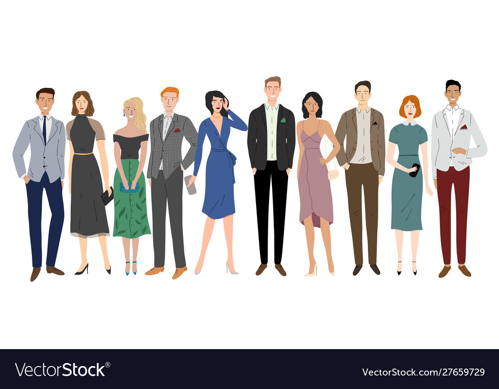 Group diversity business people standing
