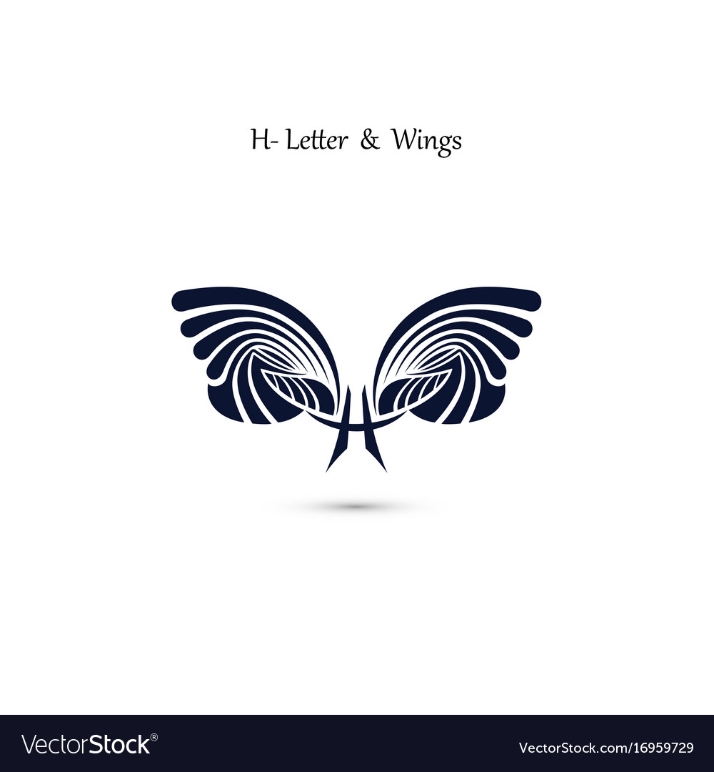 H letter sign and angel wings monogram wing logo