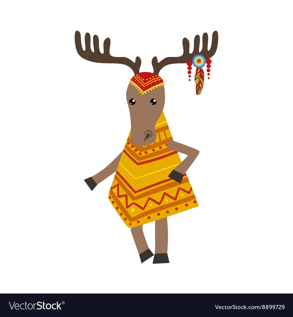 Moose Wearing Tribal Clothing