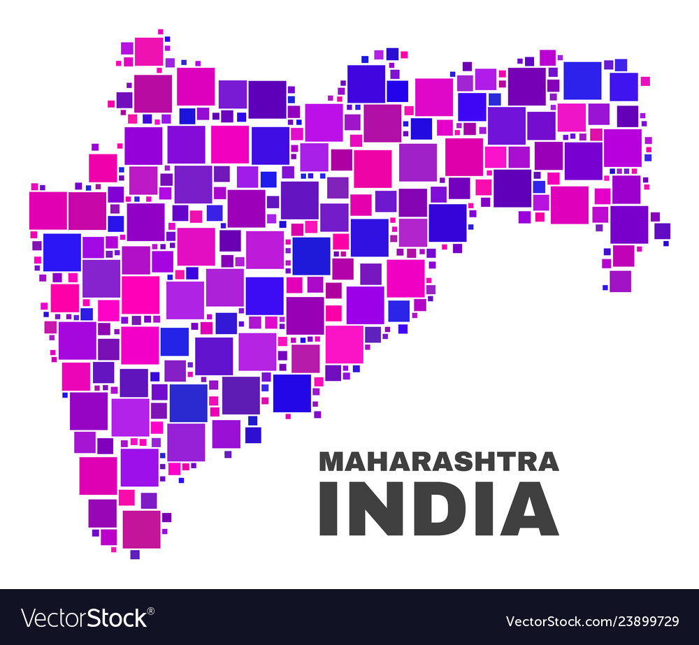 Purple State Map.Mosaic Maharashtra State Map Of Square Elements Vector Image