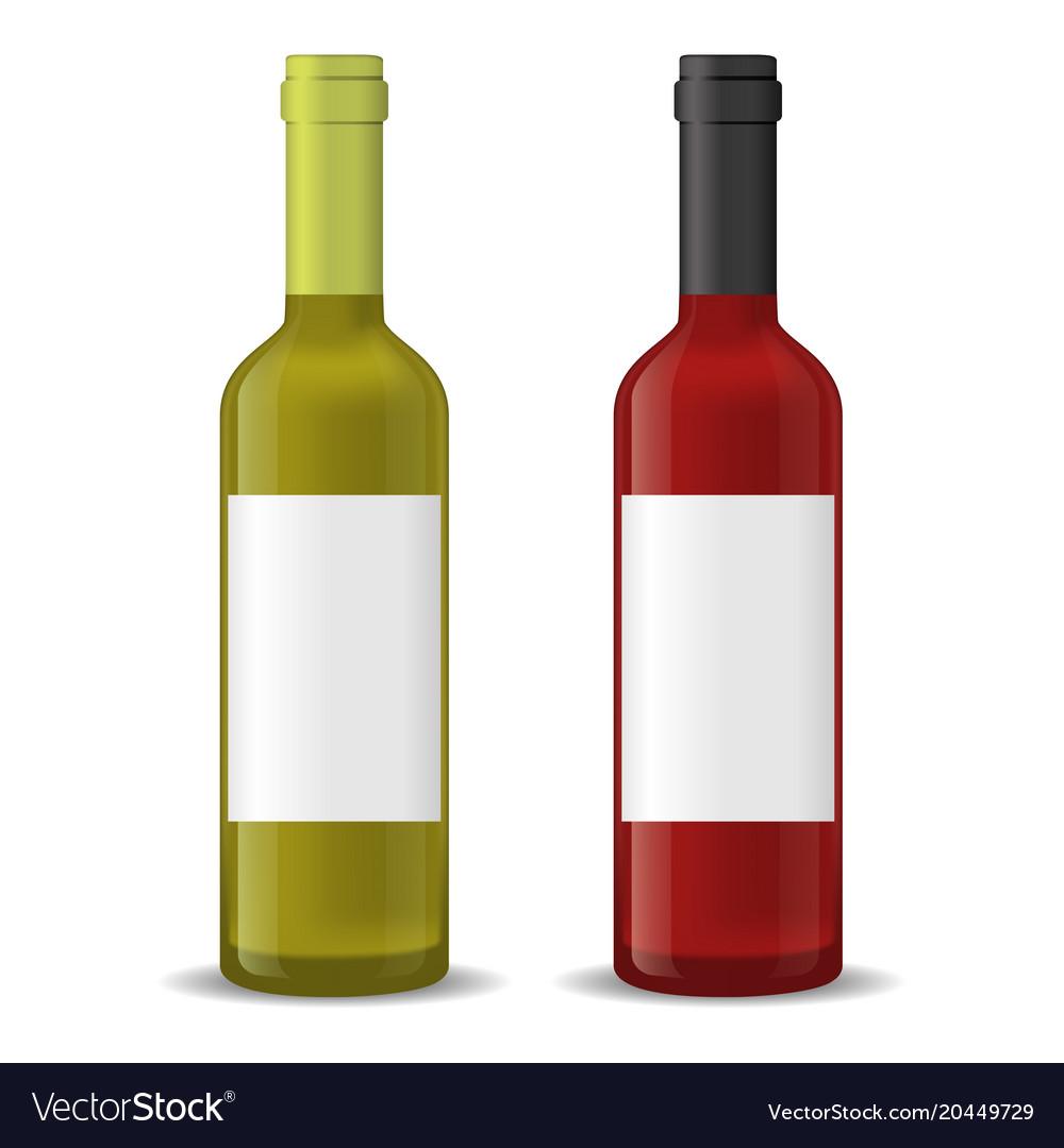 Realistic detailed 3d wine bottles set