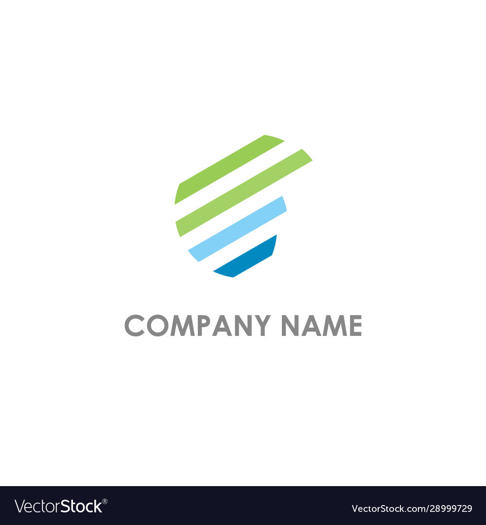Round abstract shape line colored logo