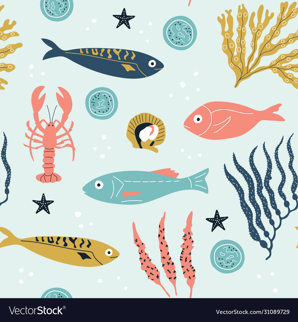 Seamless childish pattern with cute sea fishes