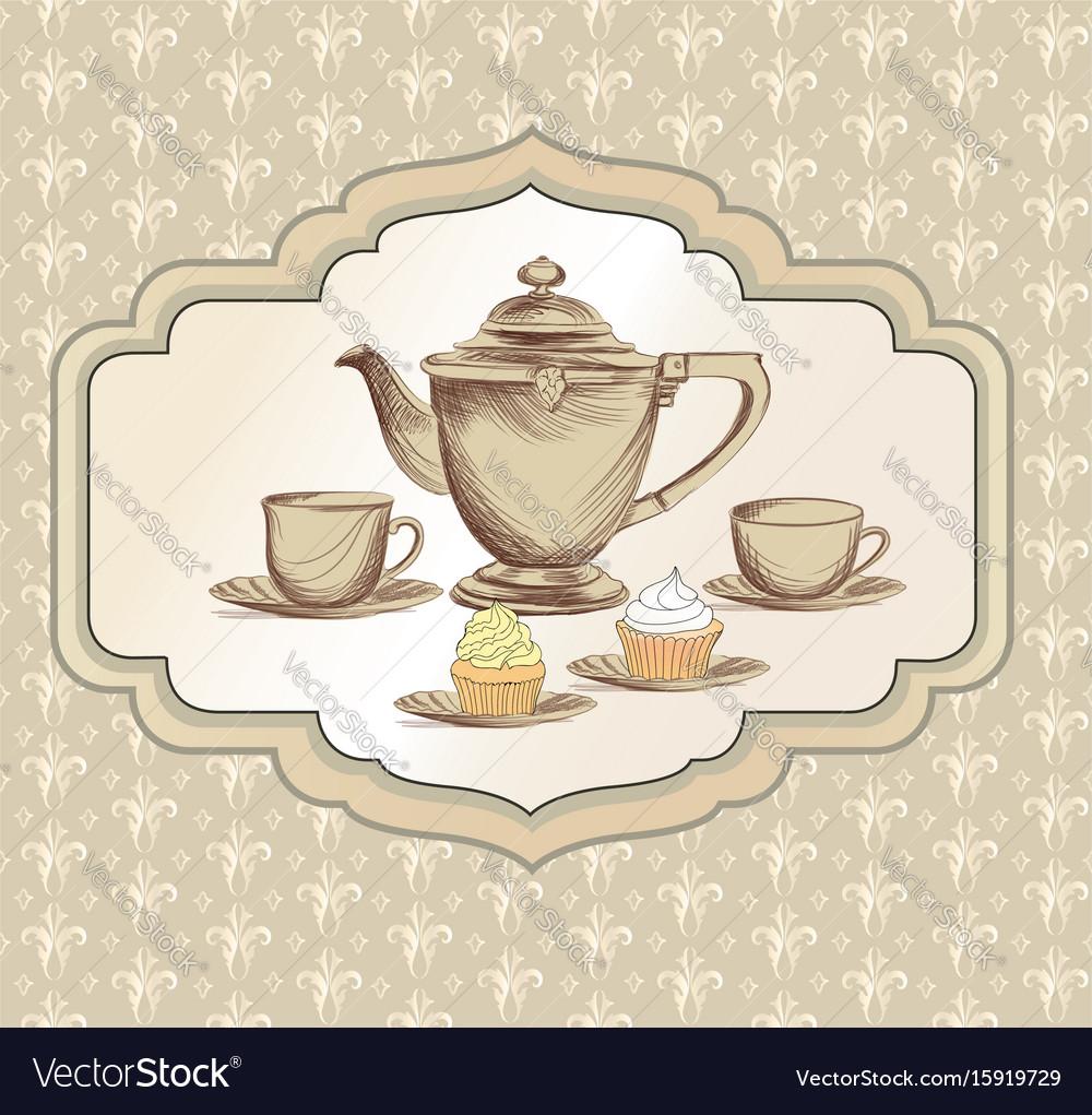 Tea cup kettle retro card tea time vintage