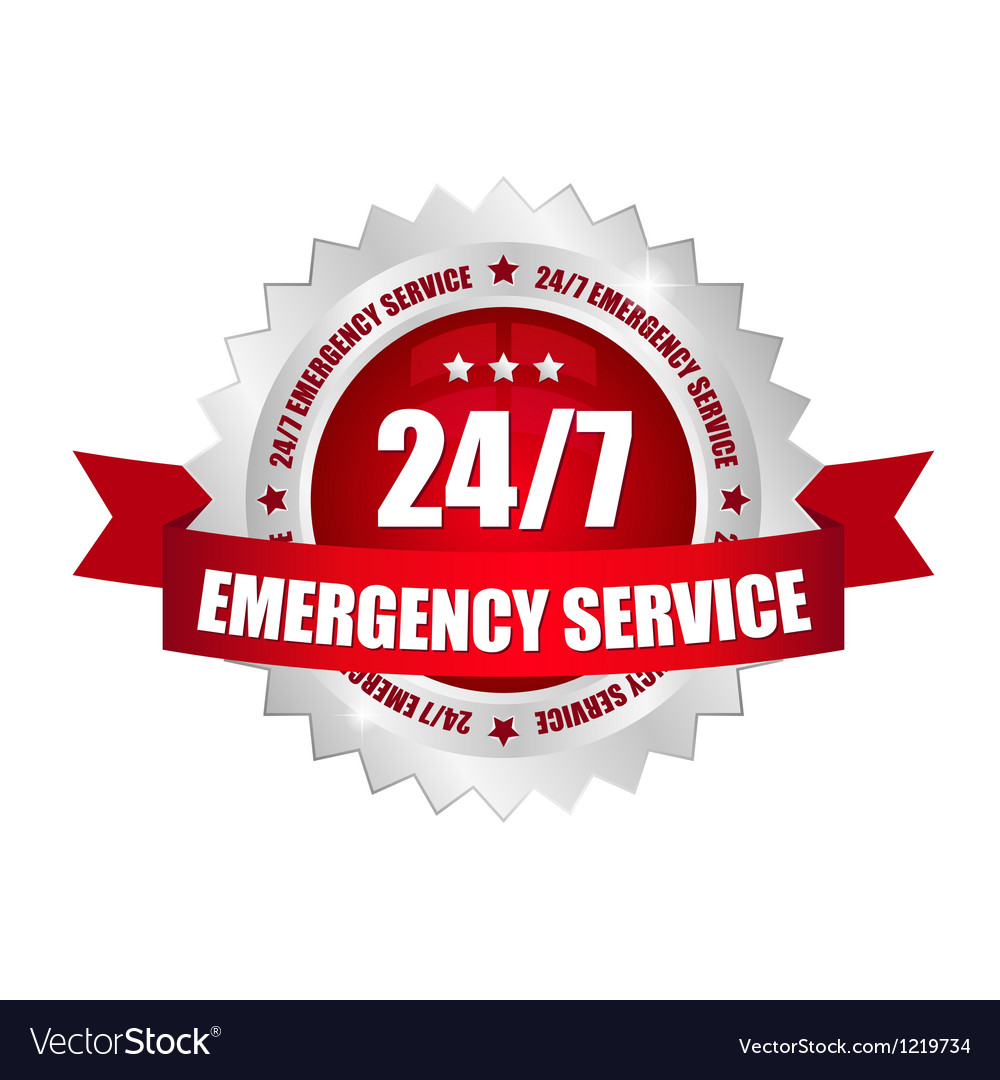 24-7 emergency service button vector image