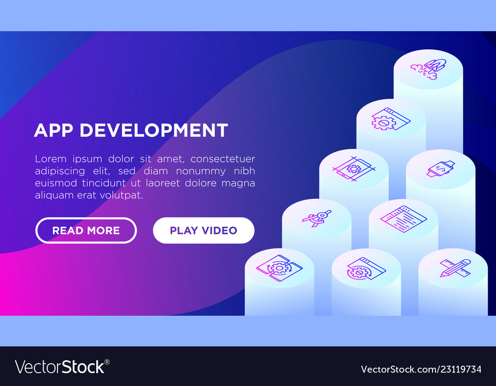 App development concept with isometric line icons