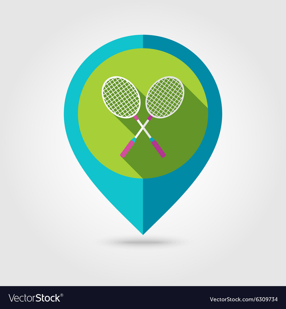 Badminton Racket flat mapping pin icon
