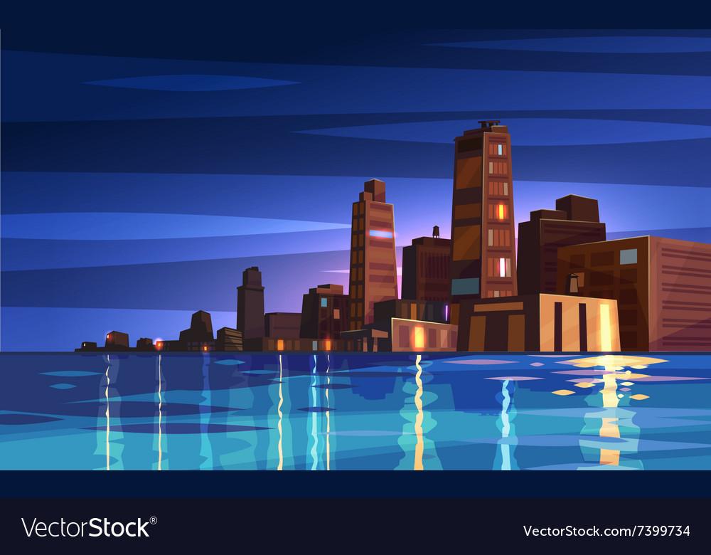 Beautiful night cartoon city with moon