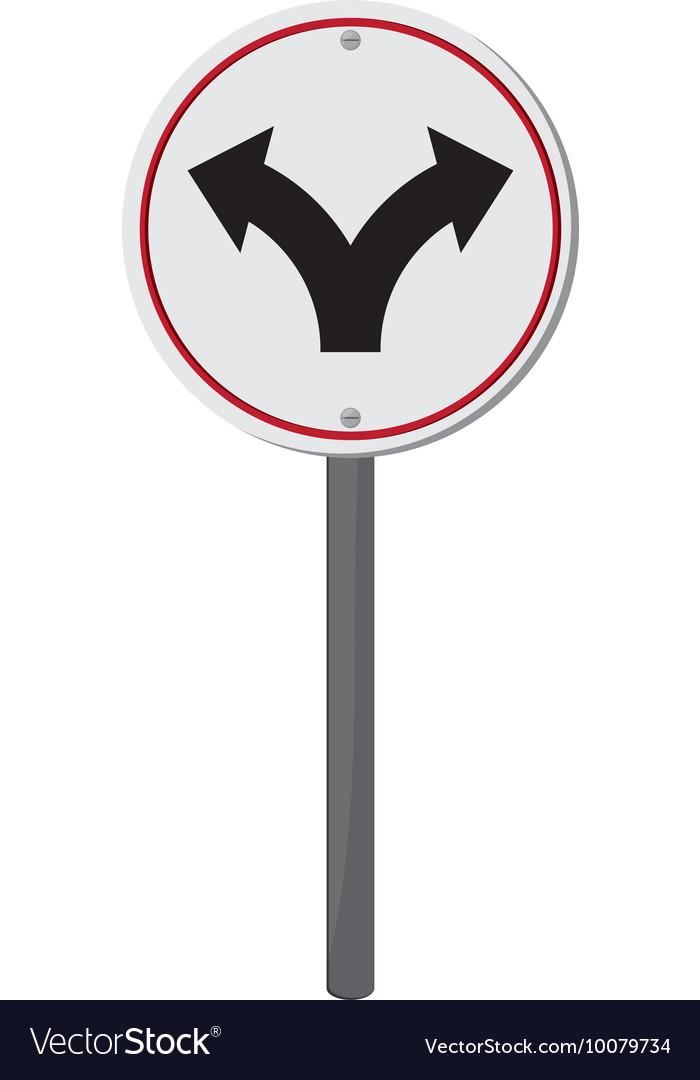 Bifurcation traffic sign icon