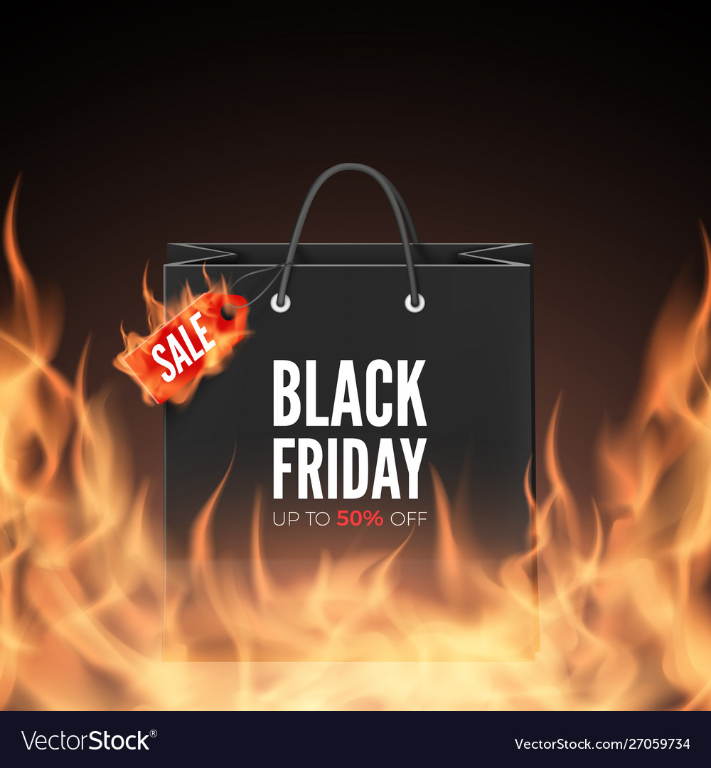 Black friday banner discount label and shopping