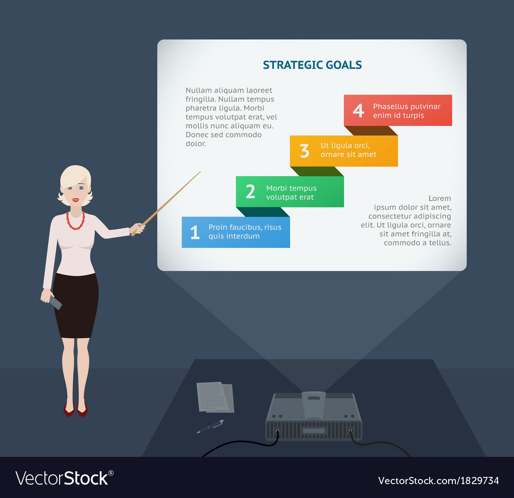 Business woman presenting annual report vector image