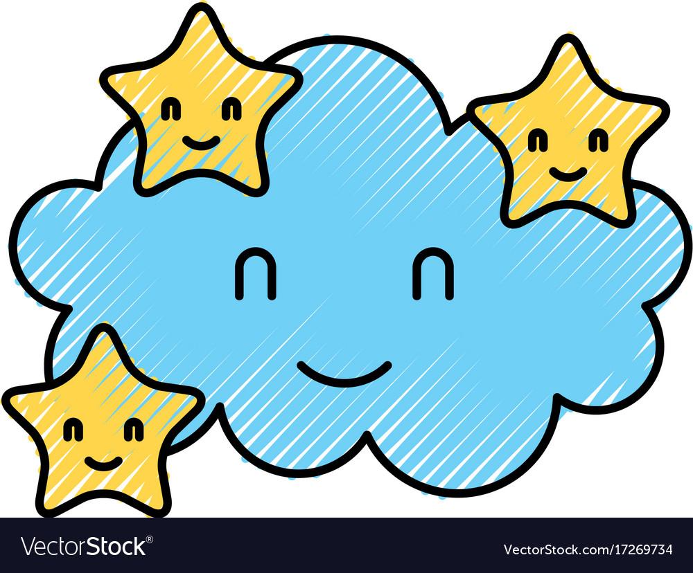 Cartoon Cute Cloud Stars Baby Shower Image Vector Image