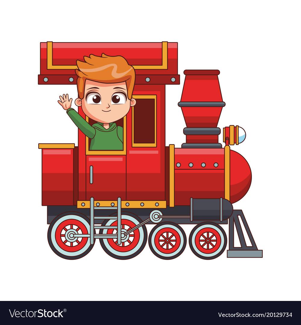 cute boy in train cartoon royalty free vector image