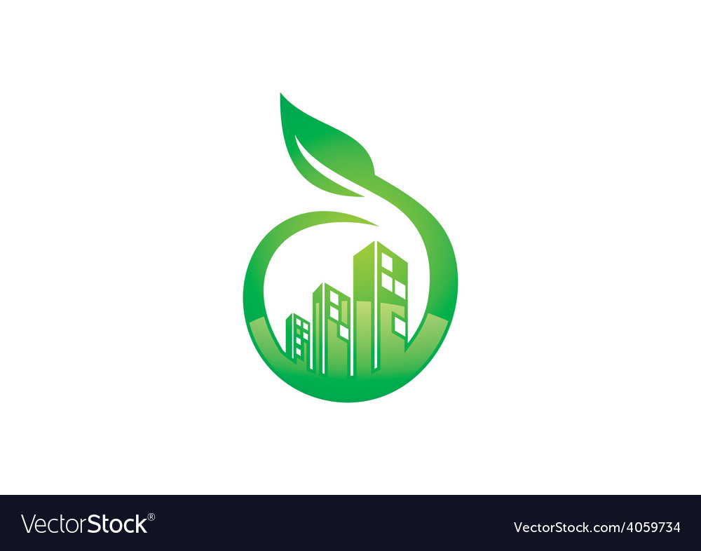 eco friendly modern building logo royalty free vector image