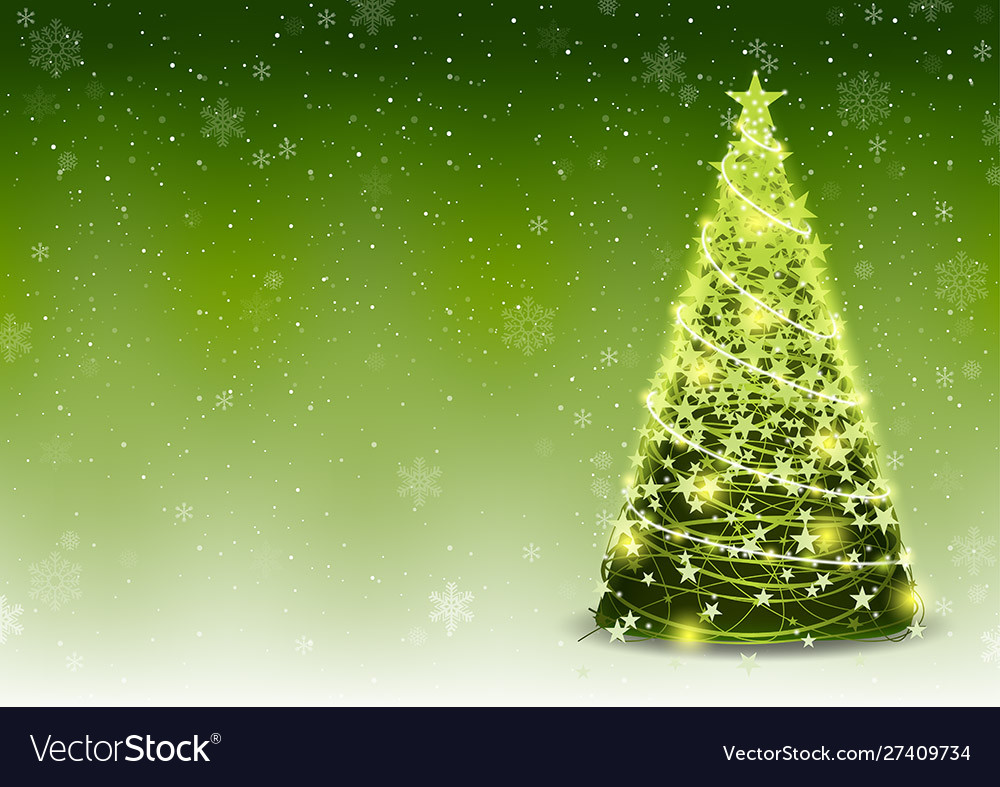 Green christmas tree background with falling snow