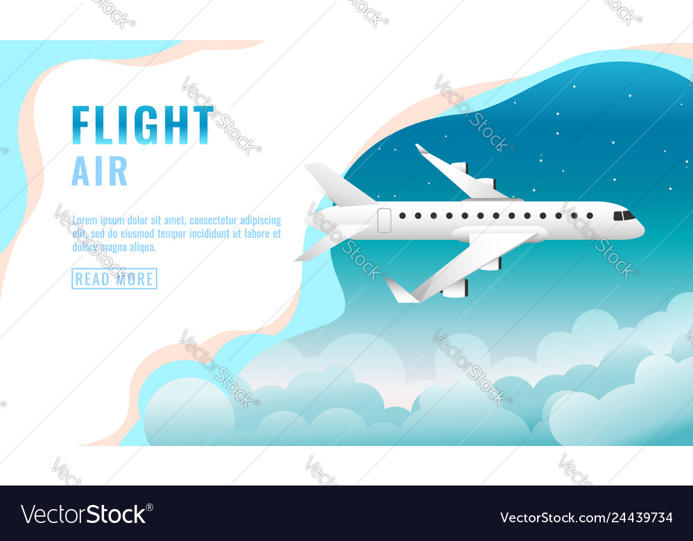 Landing page design banner with flying airliner