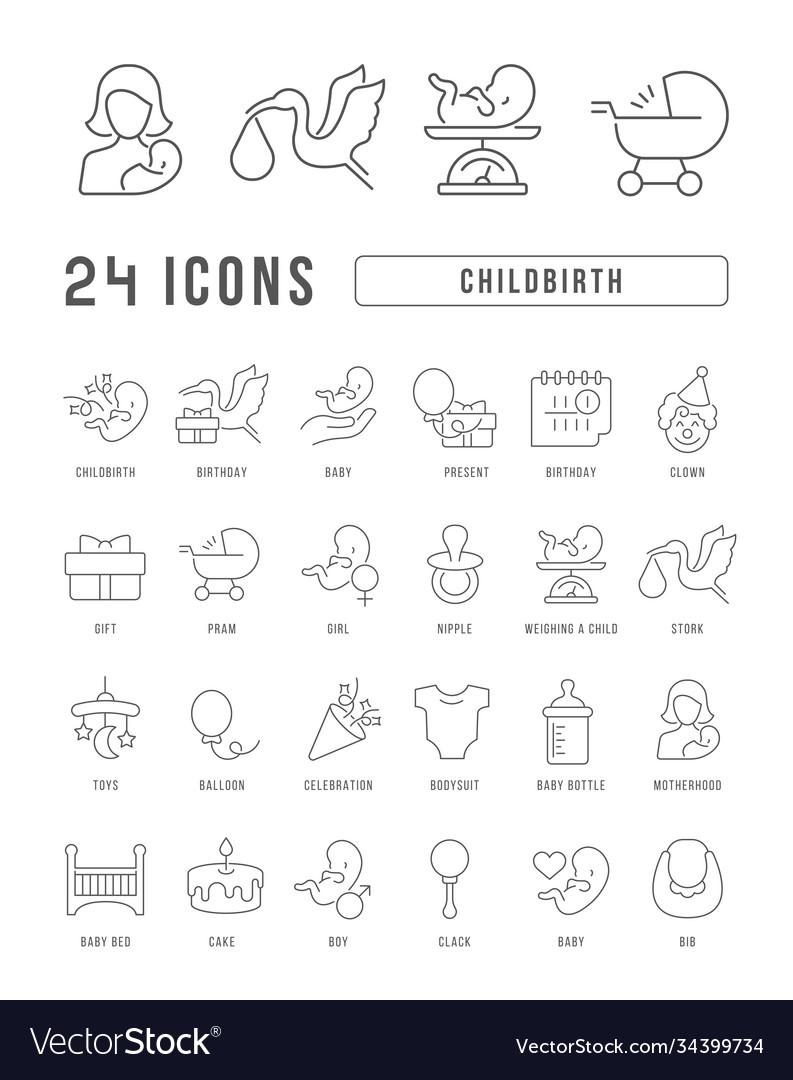 Line icons childbirth