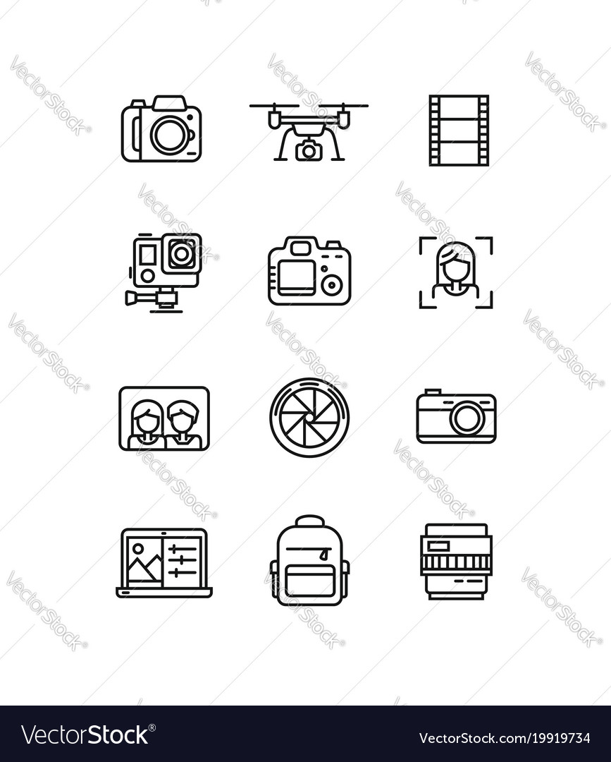 Line video and photo production camera icon