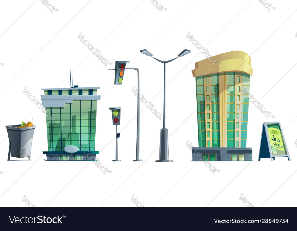 Modern city office buildings traffic lights