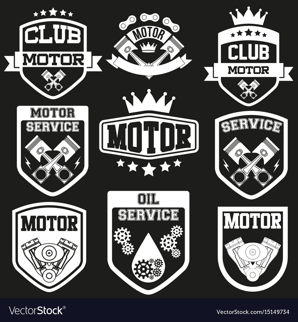 Set of motor club signs and label vector image
