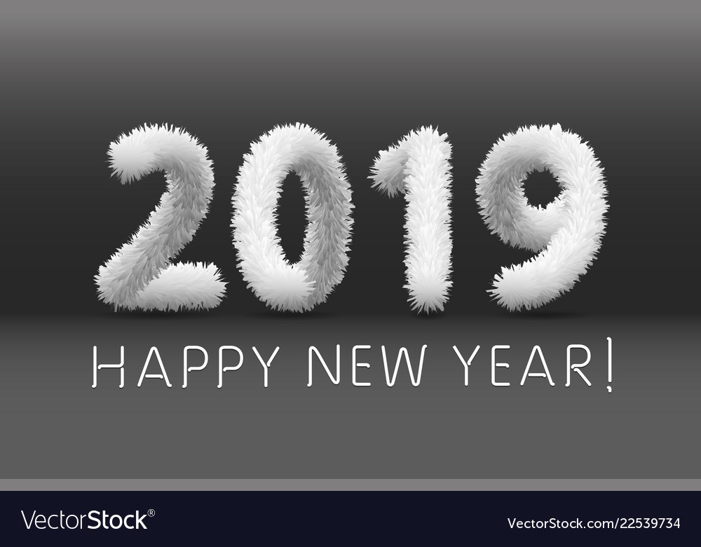 Wooly white hairy shaggy wool 2019 happy new year