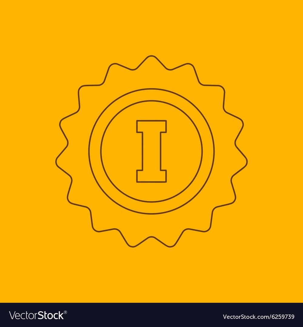 1st place rosette line icon vector image