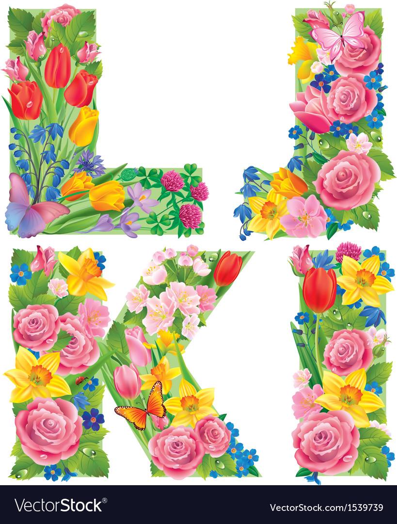 Alphabet of flowers IJKL