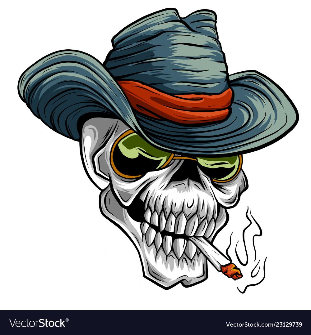 Cowboy skull cartoon style