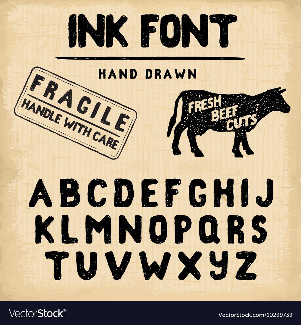 Hand made ink stamp font handwritten alphabet