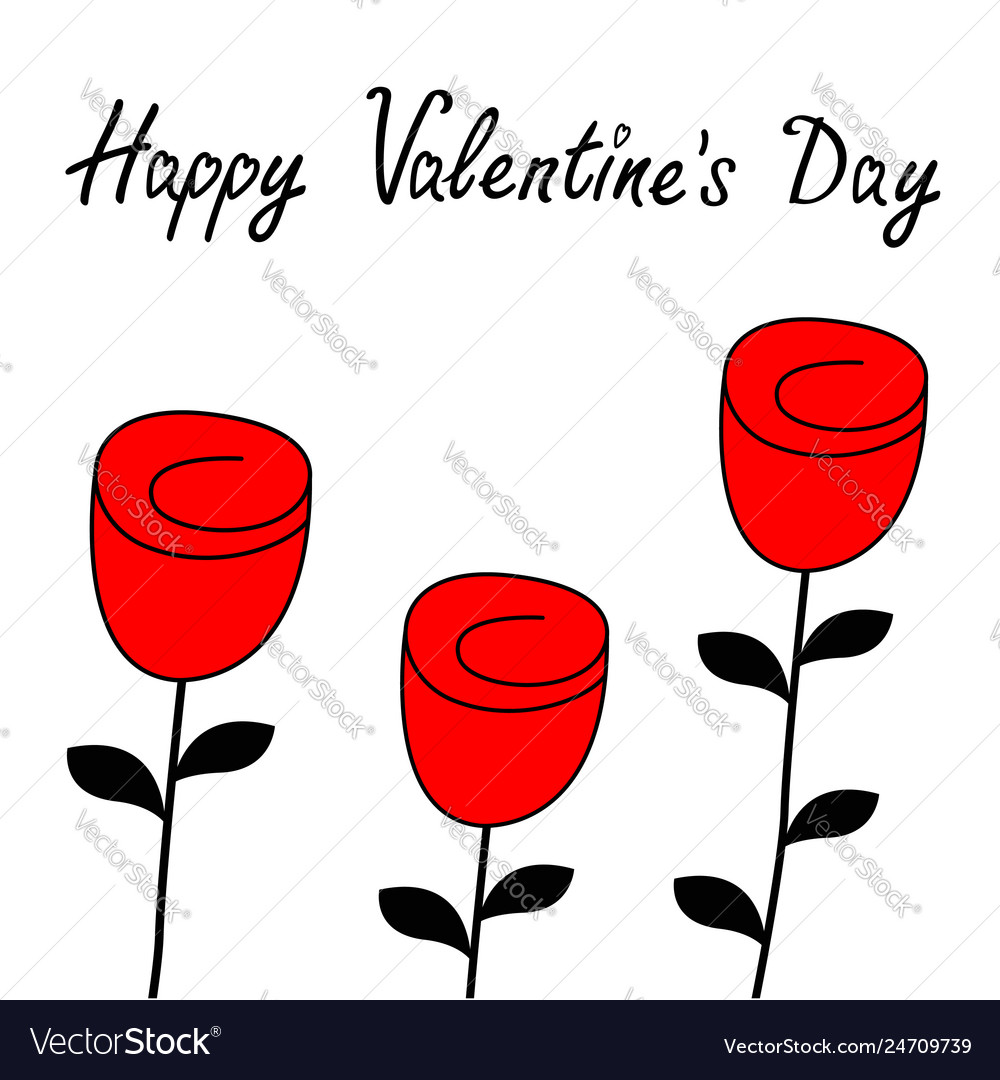 Happy valentines day rose flower blossom icon set