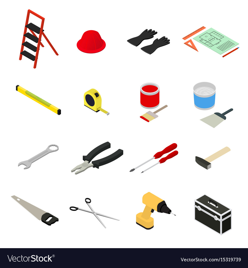 Home repair icons set isometric view