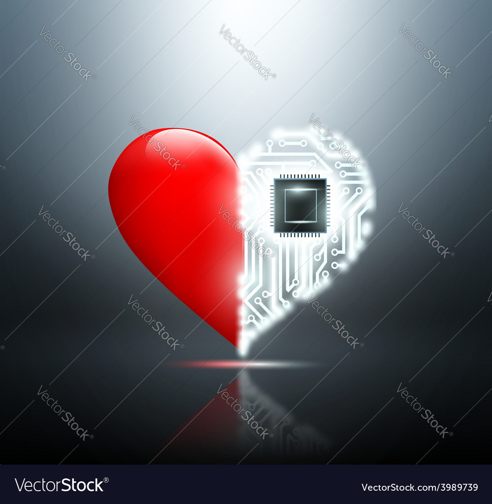 Human heart with the circuit board inside