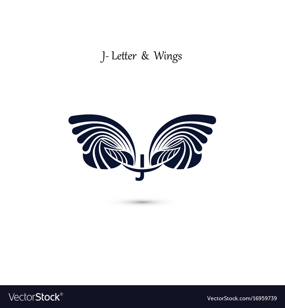 J letter sign and angel wings monogram wing logo
