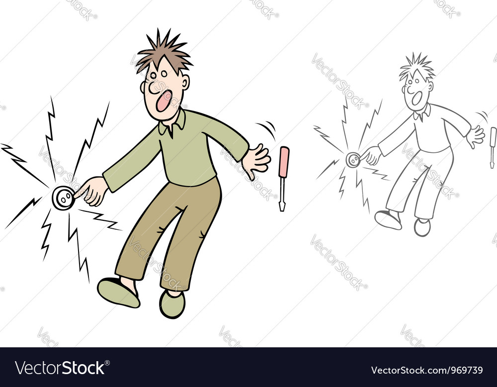 Man gets an electric shock vector image