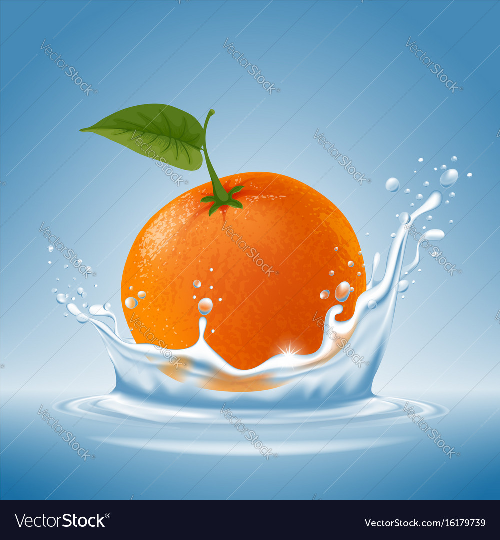 Mandarin in water splash